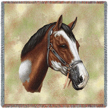 Paint Horse - Robert May - Lap Square Cotton Woven Blanket Throw - Made in the USA (54x54) Lap Square
