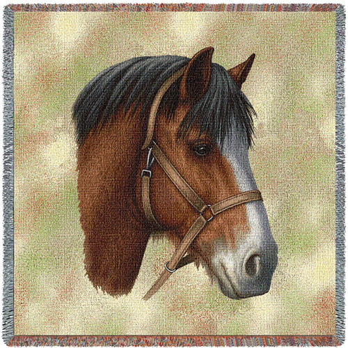 Clydesdale Horse - Robert May - Lap Square Cotton Woven Blanket Throw - Made in the USA (54x54) Lap Square