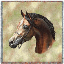 Arabian Horse - Robert May - Lap Square Cotton Woven Blanket Throw - Made in the USA (54x54) Lap Square