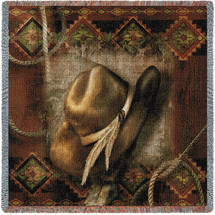 Western Hat - Cowboy - Alma Lee - Lap Square Cotton Woven Blanket Throw - Made in the USA (54x54) Lap Square