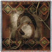 Western Horseshoe - Cowboy - Alma Lee - Lap Square Cotton Woven Blanket Throw - Made in the USA (54x54) Lap Square
