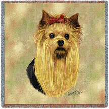 Yorkshire Terrier Yorkie - Robert May - Lap Square Cotton Woven Blanket Throw - Made in the USA (54x54) Lap Square