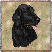 Flat Coated Retriever - Robert May - Lap Square Cotton Woven Blanket Throw - Made in the USA (54x54) Lap Square