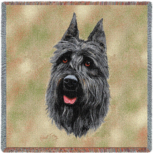 Bouvier des Flanders Dog - Robert May - Lap Square Cotton Woven Blanket Throw - Made in the USA (54x54) Lap Square