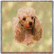 Poodle Cream - Robert May - Lap Square Cotton Woven Blanket Throw - Made in the USA (54x54) Lap Square