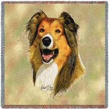 Rough Collie - Robert May - Lap Square Cotton Woven Blanket Throw - Made in the USA (54x54) Lap Square