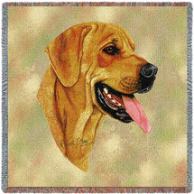 Rhodesian Ridgeback - Robert May - Lap Square Cotton Woven Blanket Throw - Made in the USA (54x54) Lap Square