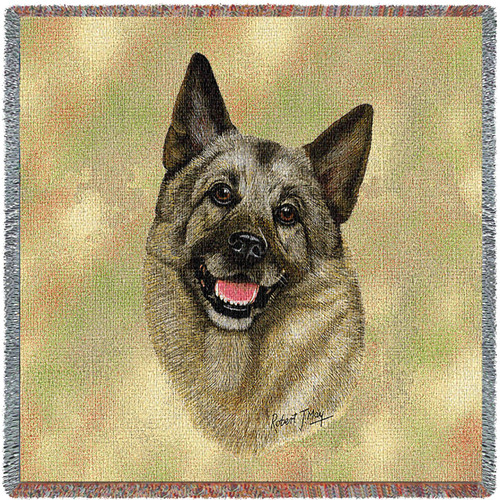 Norwegian Elkhound - Robert May - Lap Square Cotton Woven Blanket Throw - Made in the USA (54x54) Lap Square