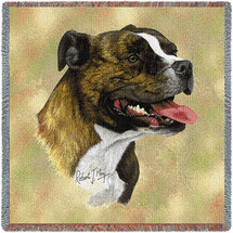 Staffordshire Bull Terrier - Robert May - Lap Square Cotton Woven Blanket Throw - Made in the USA (54x54) Lap Square