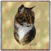 Brown Tabby Cat - Robert May - Lap Square Cotton Woven Blanket Throw - Made in the USA (54x54) Lap Square