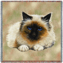 Birman Cat - Robert May - Lap Square Cotton Woven Blanket Throw - Made in the USA (54x54) Lap Square