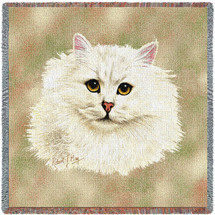 Chinchilla Persian Cat - Robert May - Lap Square Cotton Woven Blanket Throw - Made in the USA (54x54) Lap Square