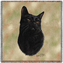 Black Cat - Robert May - Lap Square Cotton Woven Blanket Throw - Made in the USA (54x54) Lap Square