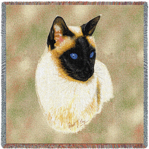 Siamese Cat - Robert May - Lap Square Cotton Woven Blanket Throw - Made in the USA (54x54) Lap Square