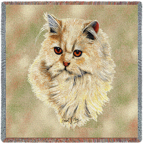 Cream Persian Cat - Robert May - Lap Square Cotton Woven Blanket Throw - Made in the USA (54x54) Lap Square