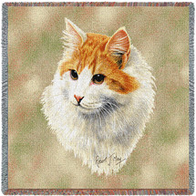Red and White Short Hair Cat - Robert May - Lap Square Cotton Woven Blanket Throw - Made in the USA (54x54) Lap Square