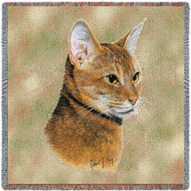 Abyssinian Cat - Robert May - Lap Square Cotton Woven Blanket Throw - Made in the USA (54x54) Lap Square