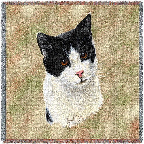 Black and White Shorthair Cat - Robert May - Lap Square Cotton Woven Blanket Throw - Made in the USA (54x54) Lap Square