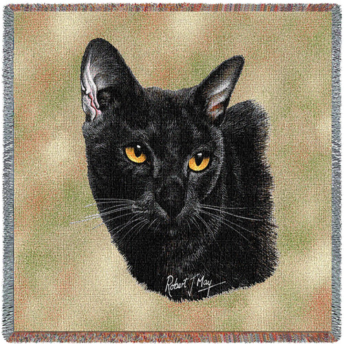 Bombay Cat- Robert May - Lap Square Cotton Woven Blanket Throw - Made in the USA (54x54) Lap Square