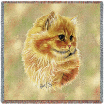 Cameo Persian Cat - Robert May - Lap Square Cotton Woven Blanket Throw - Made in the USA (54x54) Lap Square