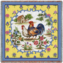 Country Roosters Woven Throw Blanket Cotton With Artistic Textured Design Cotton USA 54x54 Lap Square