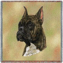 Boxer Brindle - Robert May - Lap Square Cotton Woven Blanket Throw - Made in the USA (54x54) Lap Square