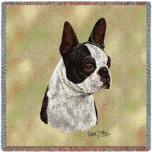 Boston Terrier Black - Robert May - Lap Square Cotton Woven Blanket Throw - Made in the USA (54x54) Lap Square