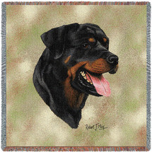 Rottweiler - Robert May - Lap Square Cotton Woven Blanket Throw - Made in the USA (54x54) Lap Square