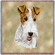Wire Fox Terrier - Robert May - Lap Square Cotton Woven Blanket Throw - Made in the USA (54x54) Lap Square