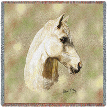 Welsh Pony Horse - Robert May - Lap Square Cotton Woven Blanket Throw - Made in the USA (54x54) Lap Square