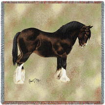 Shire Horse - Robert May - Lap Square Cotton Woven Blanket Throw - Made in the USA (54x54) Lap Square