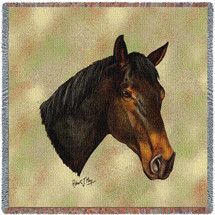 Thoroughbred Dark Brown Horse - Robert May - Lap Square Cotton Woven Blanket Throw - Made in the USA (54x54) Lap Square