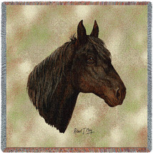 Morgan Horse - Robert May - Lap Square Cotton Woven Blanket Throw - Made in the USA (54x54) Lap Square