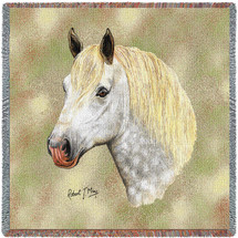 Percheron Horse - Robert May - Lap Square Cotton Woven Blanket Throw - Made in the USA (54x54) Lap Square