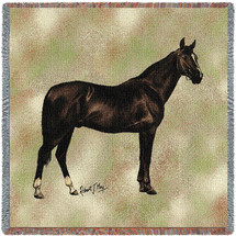 Anglo Arabian Horse - Robert May - Lap Square Cotton Woven Blanket Throw - Made in the USA (54x54) Lap Square