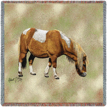 Shetland Pony Horse - Robert May - Lap Square Cotton Woven Blanket Throw - Made in the USA (54x54) Lap Square