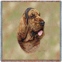 Bloodhound - Robert May - Lap Square Cotton Woven Blanket Throw - Made in the USA (54x54) Lap Square