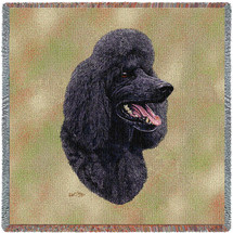 Poodle Black - Robert May - Lap Square Cotton Woven Blanket Throw - Made in the USA (54x54) Lap Square