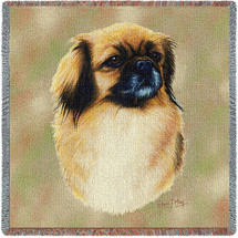 Tibetan Spaniel - Robert May - Lap Square Cotton Woven Blanket Throw - Made in the USA (54x54) Lap Square