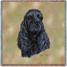 Cocker Spaniel Black - Robert May - Lap Square Cotton Woven Blanket Throw - Made in the USA (54x54) Lap Square