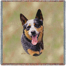 Australian Cattle Dog - Robert May - Lap Square Cotton Woven Blanket Throw - Made in the USA (54x54) Lap Square