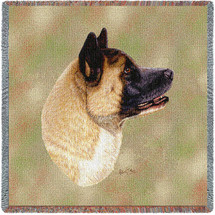 Akita - Robert May - Lap Square Cotton Woven Blanket Throw - Made in the USA (54x54) Lap Square