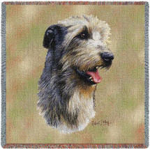 Irish Wolfhound - Robert May - Lap Square Cotton Woven Blanket Throw - Made in the USA (54x54) Lap Square