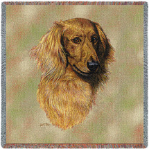 Long Haired Dachshund Red - Robert May - Lap Square Cotton Woven Blanket Throw - Made in the USA (54x54) Lap Square