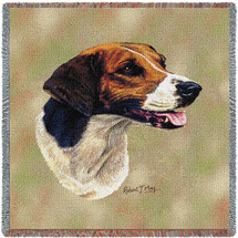 English Foxhound - Robert May - Lap Square Cotton Woven Blanket Throw - Made in the USA (54x54) Lap Square