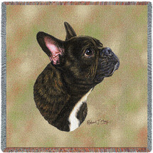 French Bulldog - Robert May - Lap Square Cotton Woven Blanket Throw - Made in the USA (54x54) Lap Square