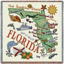 State of Florida - Lap Square Cotton Woven Blanket Throw - Made in the USA (54x54) Lap Square