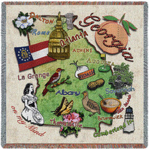 State of Georgia - Lap Square Cotton Woven Blanket Throw - Made in the USA (54x54) Lap Square