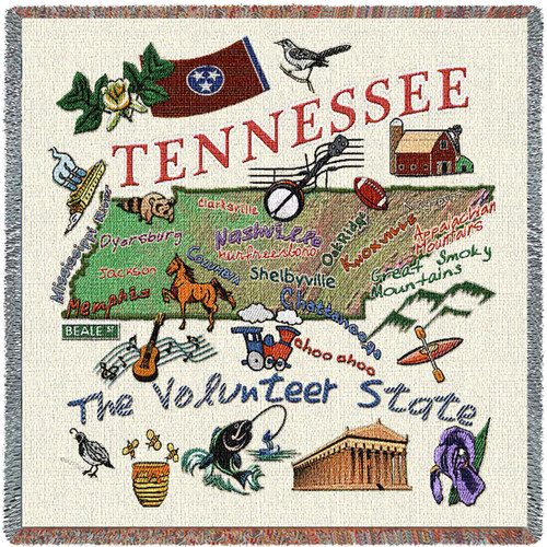 State of Tennessee - Lap Square Cotton Woven Blanket Throw - Made in the USA (54x54) Lap Square