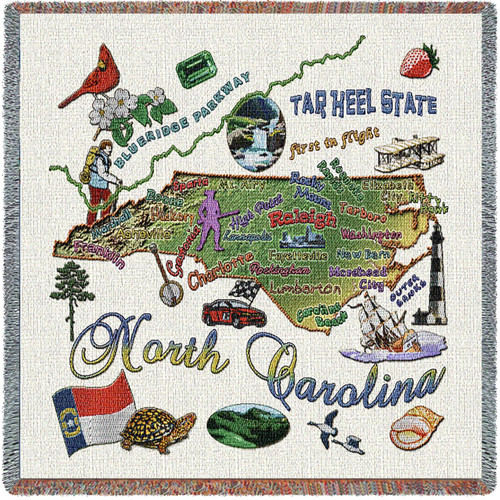 State of North Carolina - Lap Square Cotton Woven Blanket Throw - Made in the USA (54x54) Lap Square